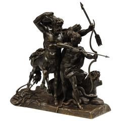 Fine Bronze of the Education of Achilles