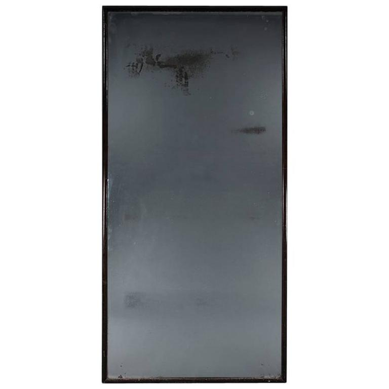 Late 19th Century black framed mirror encompassing a 19th Century Plate