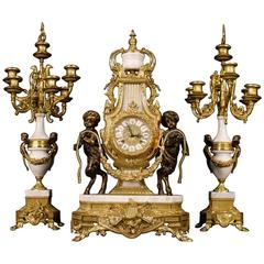 20th Century German Triptych Clock with Candlesticks in Marble
