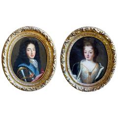 Portraits of Philippe D'Orleans and His Wife, Oil on Canvas, Louis XIV Period