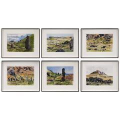 Set of Six Watercolors of Easter Island
