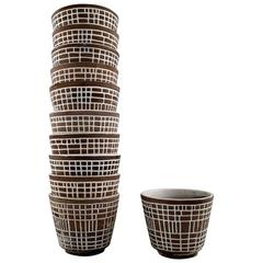 11 Upsala-Ekeby Modernist Ceramics Flowerpots with Geometric Pattern