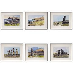 Watercolors of Easter Island by Teddy Millington Drake