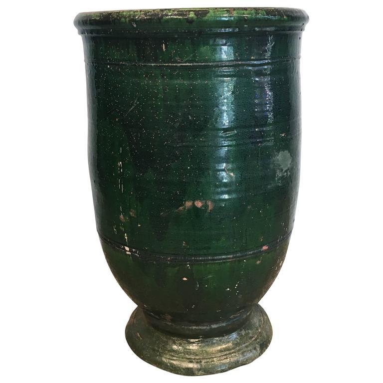 French dark-green-glazed terracotta planter, ca. 1830