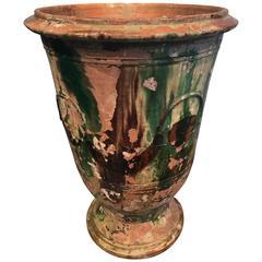 Very Large Glazed Terracotta Anduze Vase, Signed Boisset, Anduze