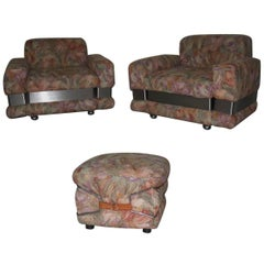 1970 Chic and Very Stylish Naif Armchairs with Ottoman Pop Art Flowers