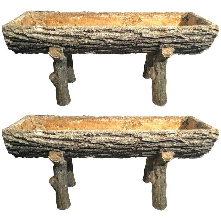 Pair of Authentic 1930s French Faux Bois Split-Log Planters on Legs
