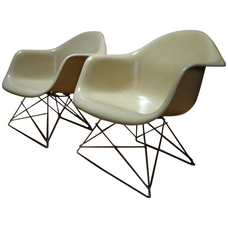 1950's Pair Off-White Charles and Ray Eames Armchairs Lar for Herman Miller