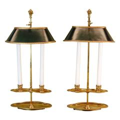"Pair of 19th Century Bouillotte Candle Lamps Stamped ""Bagues"" in Gold Finish"