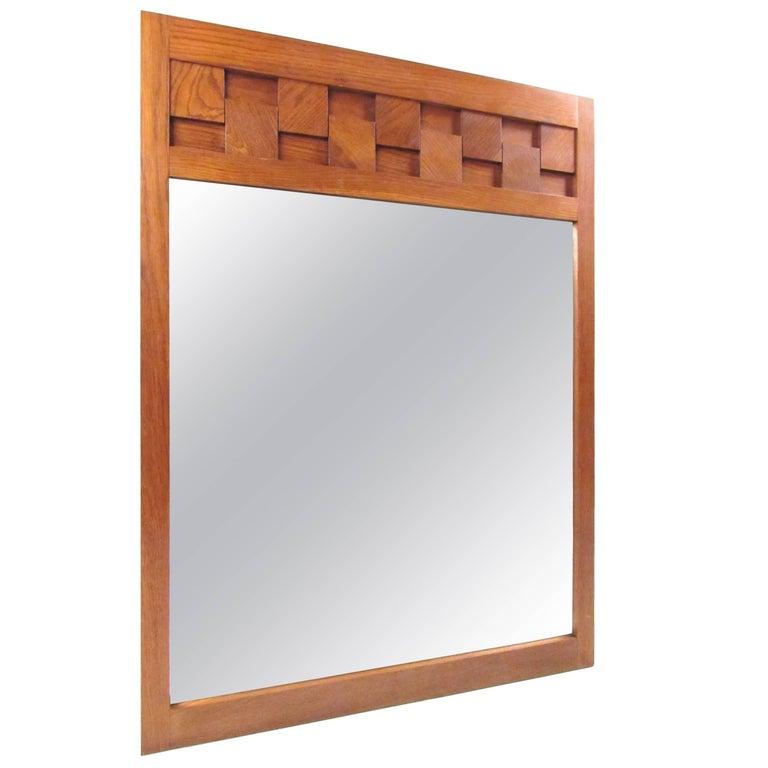 Lane Brutalist Style Oak Frame Mirror For Sale