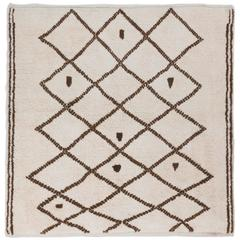 Contemporary Moroccan Rug Made of Natural Undyed Wool