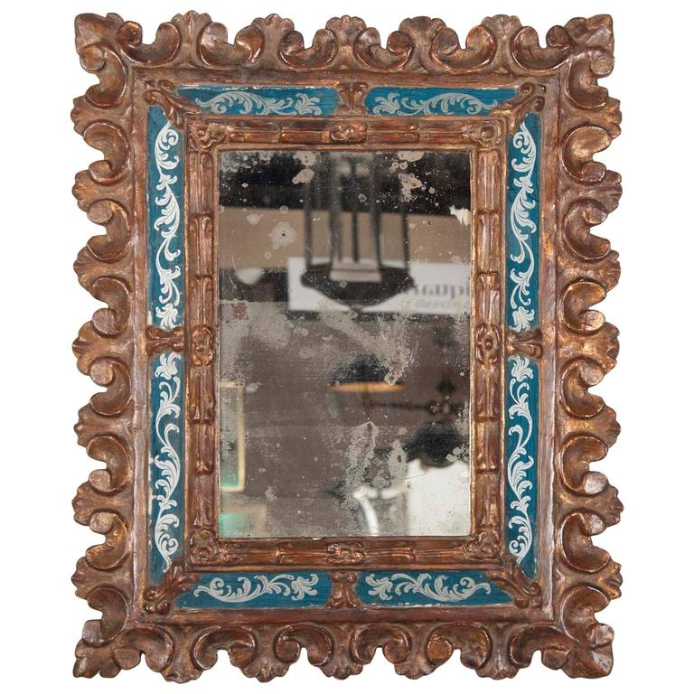 Italian baroque giltwood and reverse glass mirror at 1stdibs for Italian baroque mirror