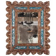 Italian Baroque Giltwood and Reverse Glass Mirror