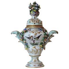Saxe Polychrome Porcelain Covered Vase, circa 1890