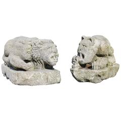 Couple Antique Lions
