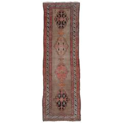 Semi Antique Turkish Anatolian Runner in Pale Oushak Colors