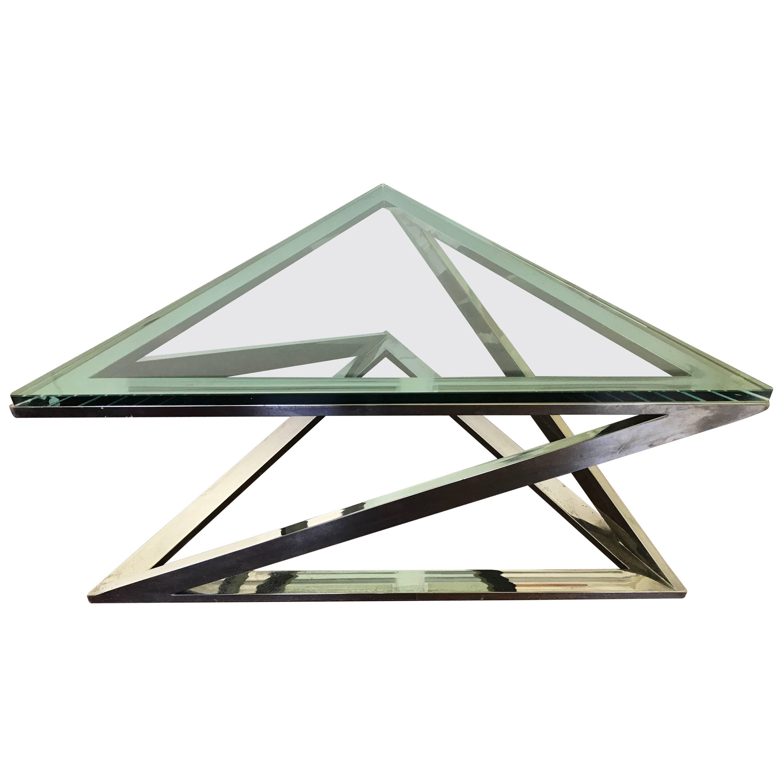 Triangular Chrome Cocktail Table