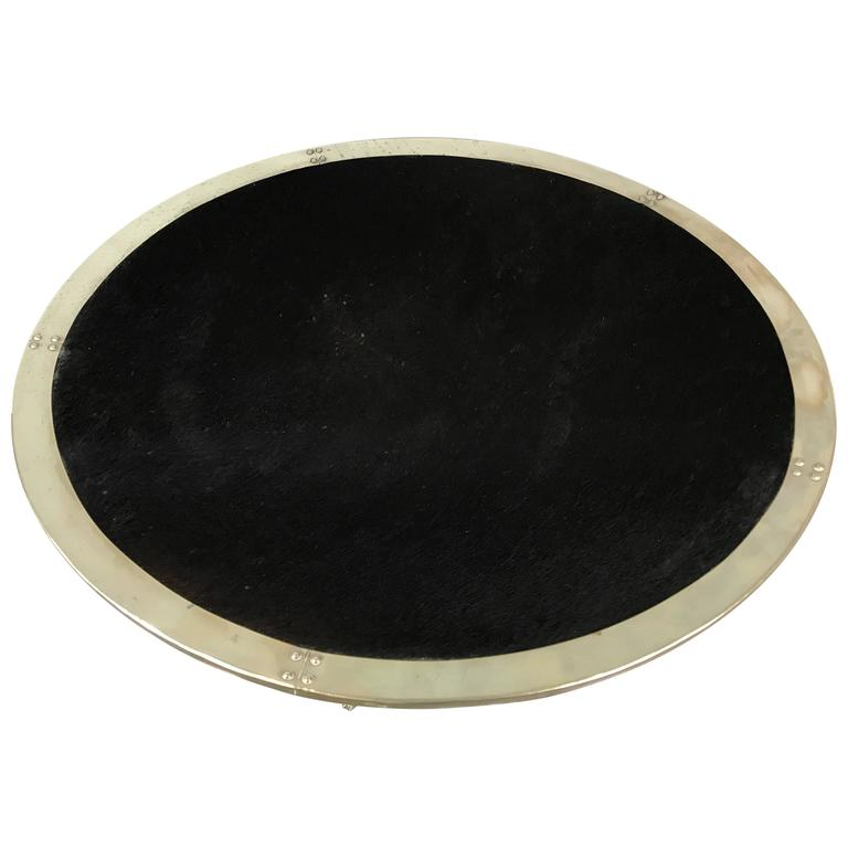 Large Cowhide and Silvered Metal Tray