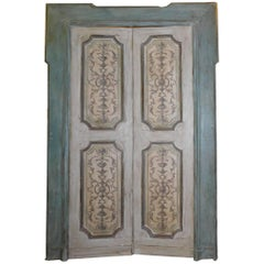 Antique Lacquered Double Door with Original Frame