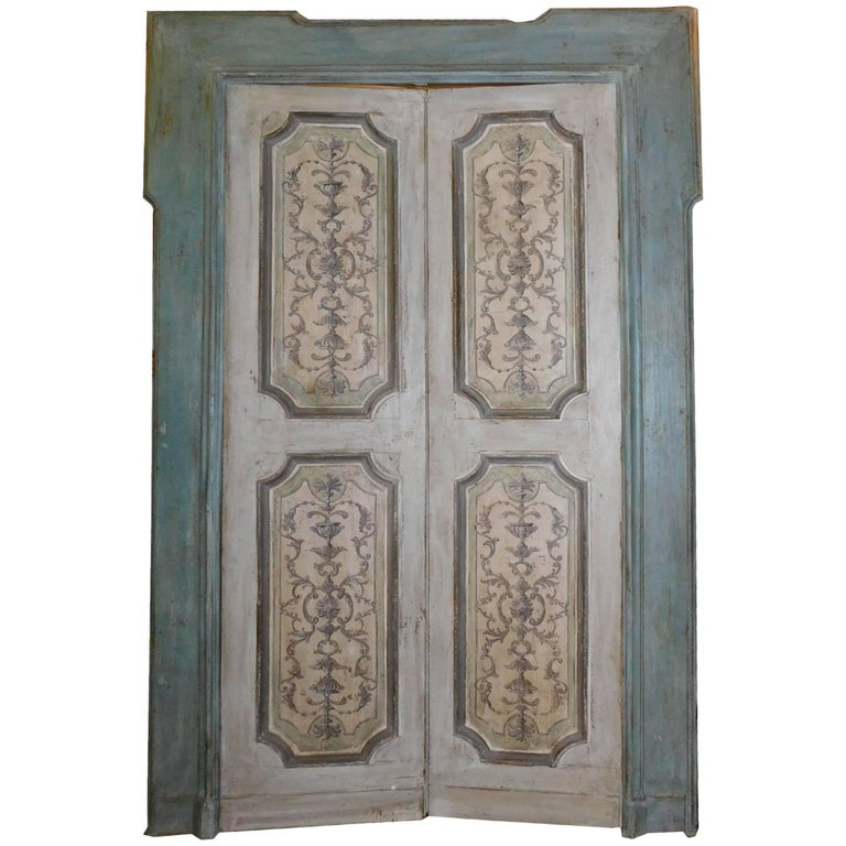 Vintage Industrial Fire Doors : Antique lacquered double door with original frame for sale
