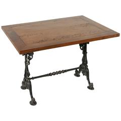 Late 19th Century Cast Iron Bistro Table Cafe Table with Solid Walnut Top