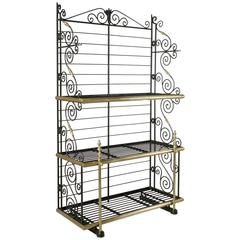 Early 20th Century French Iron and Brass Baker's Rack, Bread Rack, Etagere