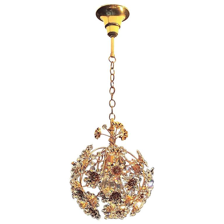 Exceptional palwa gilt brass crystal glass flower ball chandelier exceptional palwa gilt brass crystal glass flower ball chandelier circa 1960 for sale mozeypictures