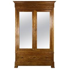 Antique English Faux Bamboo Armoire with Mirrored Doors