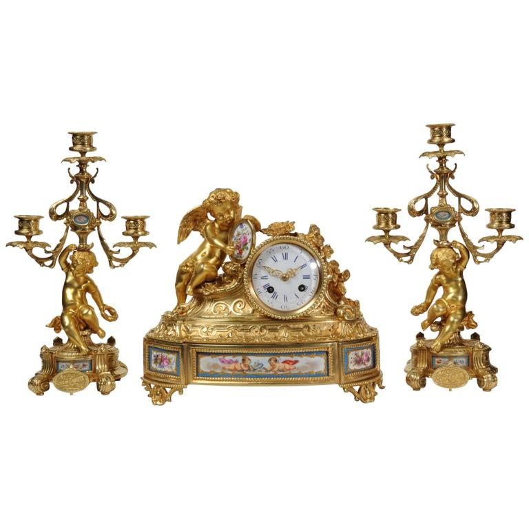 Japy Frères Early Ormolu and Sèvres Porcelain Clock Set