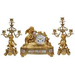 Japy Frères Early Ormolu and Sèvres Porcelain Clock Set