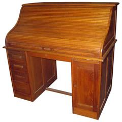 19th Century American Oak Roll Top Desk