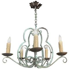 Antique Country French Painted Hand Forged Wrought Iron Chandelier
