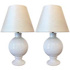 Pair of Orrefors 1970s Swedish Glass Table Lamps