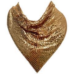 Vintage Whiting $ Davis Gold Metal Mesh Bib Choker Necklace