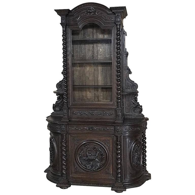 19th Century Renaissance Hunt Bookcase