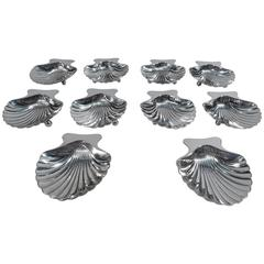 Set of Ten Tiffany American Sterling Silver Scallop Shell Nut Dishes