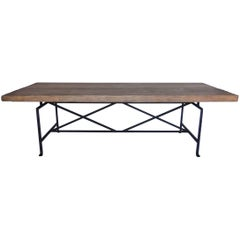 Dos Gallos Custom Reclaimed Wood Table with Iron Base