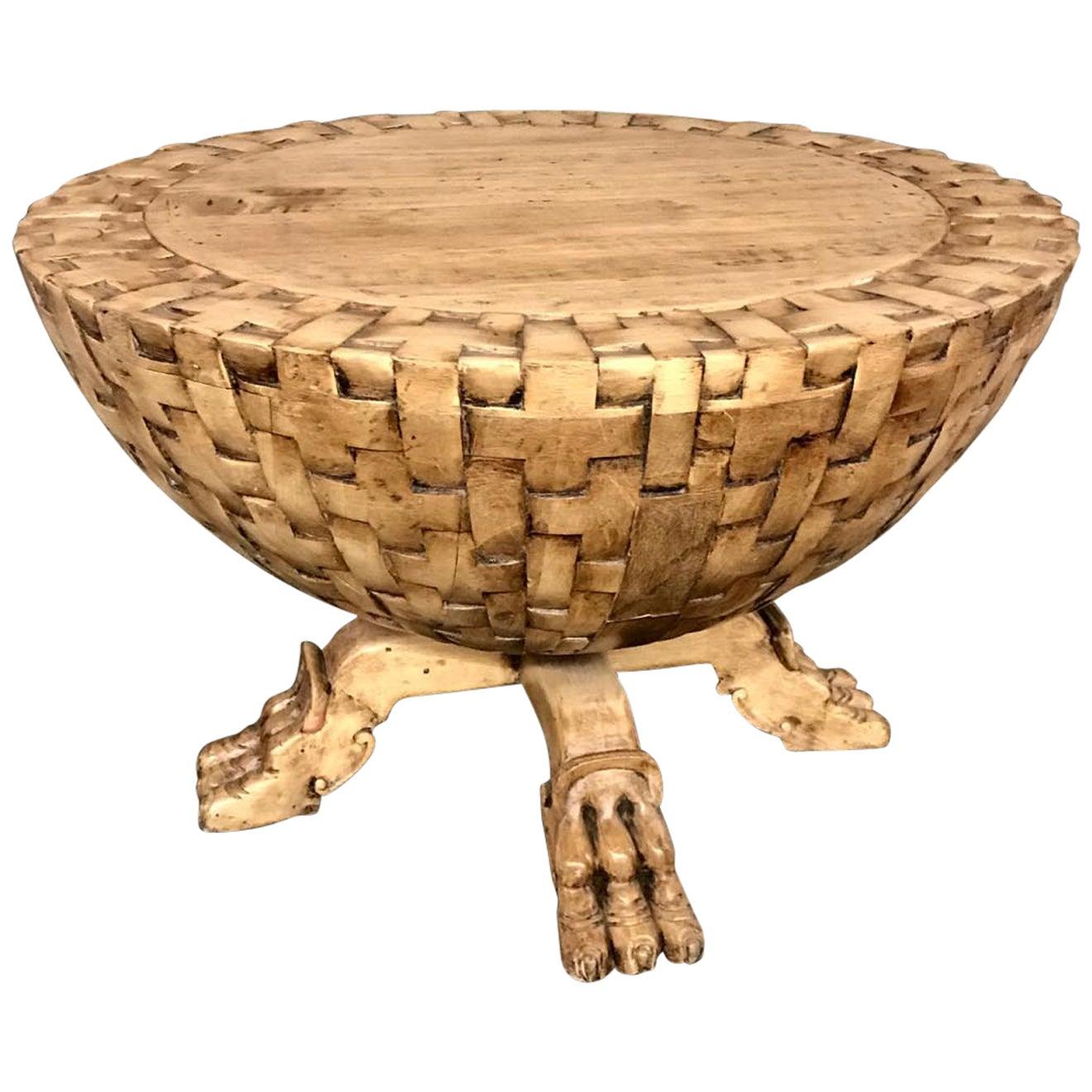 Dos Gallos Custom Basket Weave Coffee or Side Table
