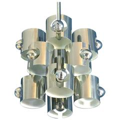 Chromed Metal Atomic Gaetano Sciolari Chandelier Op Art Pop, Italy, circa 1970