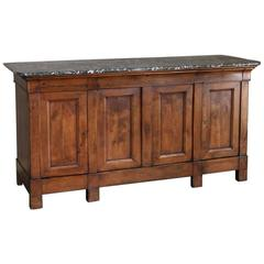 19th Century Louis Philippe Period Antique Marble Top Fruitwood Buffet, Ca.1840s