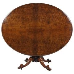 Early Victorian Figured Walnut Oval Tilt-Top Centre Table