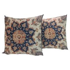 Pair of 19th Century Indian Hand-Blocked Floral Decorative Pillows