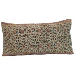 Antique Hand-Blocked Indian Floral Pattern Long Bolster Decorative Pillow