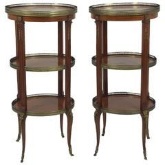 Pair of French Marquetry Inlaid Kingwood Three-Tier Étagères