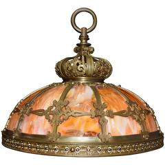 Antique Chandelier, Slag Glass Hanging Lamp