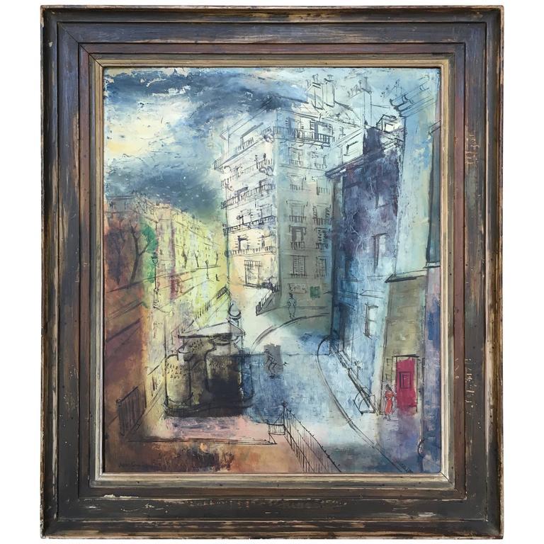 Modernist Parisian Street Scene Painting For Sale
