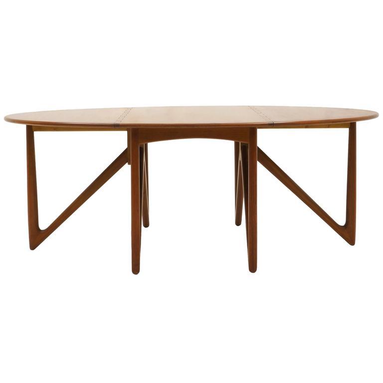 Kurt Ostervig Teak Oval/Elliptical Gateleg/Drop-Leaf Dining Table