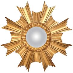 Mid-20th Century French Small Sunburst Mirror with Gilt Finish