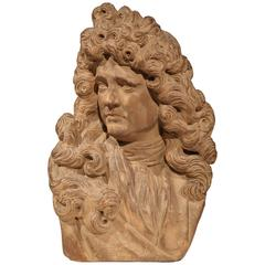 Early 20th Century Carved Patinated Terracotta Bust of French Writer Moliere