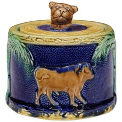 19th Century French Painted Ceramic Barbotine Sugar Bowl with Cow Decor and Lid